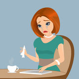 Young elegant woman is crying in the cafe - close up illustration Stock Photos