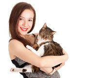 Young elegant woman with grey cat Royalty Free Stock Photography
