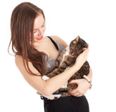 Young elegant woman with grey cat Stock Photo