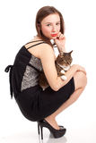 Young elegant woman with grey cat Stock Image