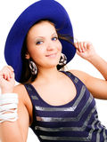 Young elegant woman in hat over white Royalty Free Stock Images