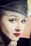 Young elegant woman in retro style Royalty Free Stock Images