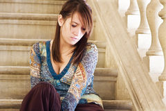 Young elegant woman in stairs Royalty Free Stock Photography