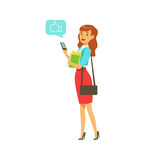 Young elegant woman standing and sending a message to someone using her smartphone colorful character vector. Illustration on a white background Royalty Free Stock Image