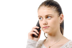 Young elegant woman talking on phone isolated on the white backg Royalty Free Stock Photo
