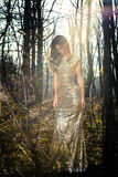 Young elegant woman walk through the woods Stock Photography