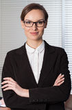 Young elegant woman working in office Stock Photo