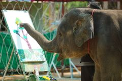 Young elephant drawing a picture. Of a tree with color paint stock image
