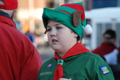 Young elf at Santa Clause Parade Stock Photo