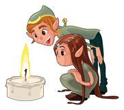 Young elfs with a candle. Funny cartoon and vector scene Stock Photography