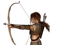 Young Elven Hunter with Bow - portrait. Digital render portrait of a young male elf archer hunting with a bow and arrows Royalty Free Stock Photo