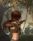 Young Elven Hunter in the forest. Digital render of a young male elf archer hunting in a forest with a bow and arrows Royalty Free Stock Image