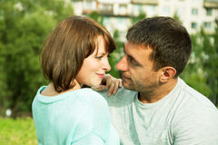 Young embracing couple Royalty Free Stock Photos