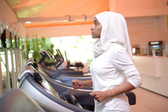 Young Emirati arab women wroking out in a Gym Stock Images