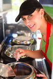 Young emloyee of an concession stand Stock Photography