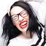 Young emotional  brunette woman wearing glasses Stock Photography