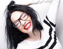 Young emotional  brunette woman wearing glasses Royalty Free Stock Photos