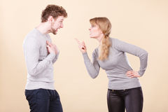 Young emotional couple arguing. Royalty Free Stock Images