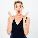 Young emotional surprising  business woman portrait isolated ag Stock Photography