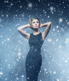 Young and emotional woman in a fashion dress Royalty Free Stock Image
