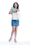 Young Emotional Woman With Paper Bag Stock Images