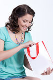 Young Emotional Woman With Paper Bag Stock Photography