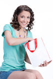 Young Emotional Woman With Paper Bag Royalty Free Stock Image