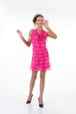 Young Emotional Woman In a Pink Dress Stock Photography