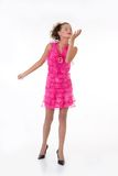 Young Emotional Woman In a Pink Dress Royalty Free Stock Photos