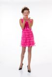 Young Emotional Woman In a Pink Dress Stock Image
