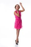 Young Emotional Woman In a Pink Dress Royalty Free Stock Image
