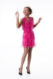 Young Emotional Woman In a Pink Dress Royalty Free Stock Photo