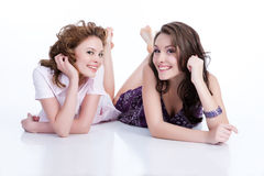 Young Emotional Women. Young women speaking and laughing royalty free stock image