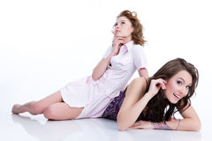 Young Emotional Women. Young women speaking, thinking and laughing royalty free stock images