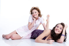 Young Emotional Women. Young women speaking and laughing royalty free stock photography