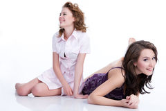 Young Emotional Women. Young women speaking and laughing royalty free stock photo
