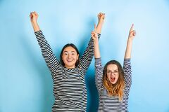 Free Young Emotional Women On Gradient Blue Background Royalty Free Stock Photography - 173137357