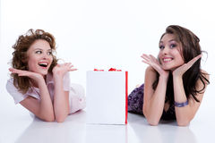 Young Emotional Women With Paper Bag. Two young women with shopping bag in different actions and emotions stock photography