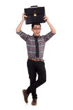 Young employee with briefcase isolated on white Royalty Free Stock Photo