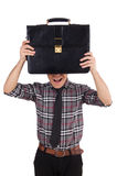 Young employee with briefcase isolated on white Royalty Free Stock Photos