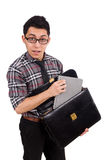 Young employee with briefcase isolated on white Stock Photo