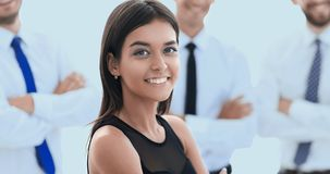 Young employee of the company, standing in front of their collea. Gues.creative youth people Stock Photos