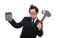 Young employee holding calculator isolated on the Stock Images