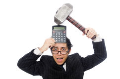 Young employee holding calculator isolated on the Stock Photos