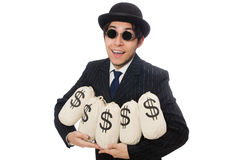Young employee holding money bags isolated on. Young employee holding money bags  on white Stock Photo