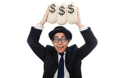 Young employee holding money bags isolated on Royalty Free Stock Image