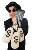 Young employee holding money bags isolated on Royalty Free Stock Images