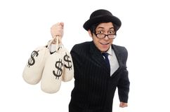 Young employee holding money bags isolated on the Stock Photography