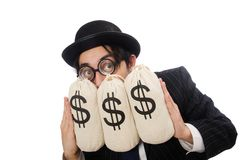 Young employee holding money bags isolated on the Royalty Free Stock Photo