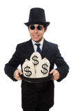 Young employee holding money bags isolated on Royalty Free Stock Photo